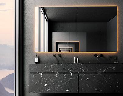 Black bathroom in the mountain