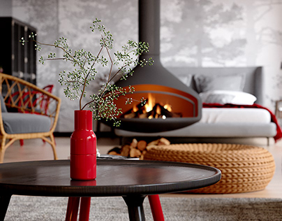 Scandinavian interior. With a red effect.