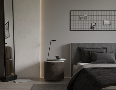 The bedroom in shades of gray
