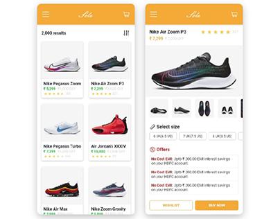 Single product e-commerce screen