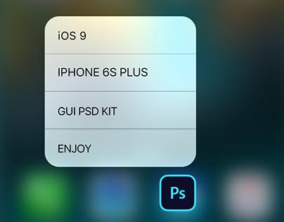 iOS 9 iPhone 6S Plus GUI PSD 3D Touch