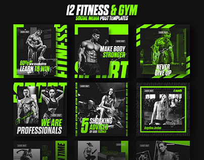 12 Ultimate Fitness Sport Social Media Post Templates