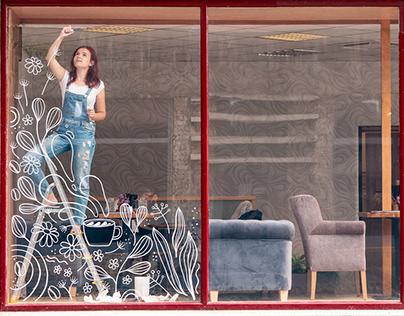 CoffeeGarden | Window mural