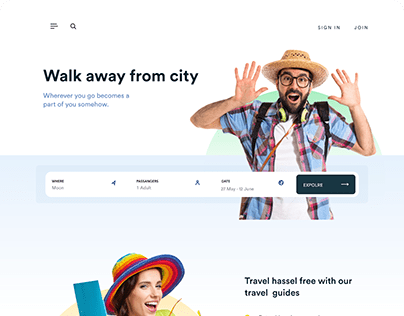 Travel agent landing page