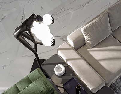 MODERN LIVING ROOM & KITCHEN AREA