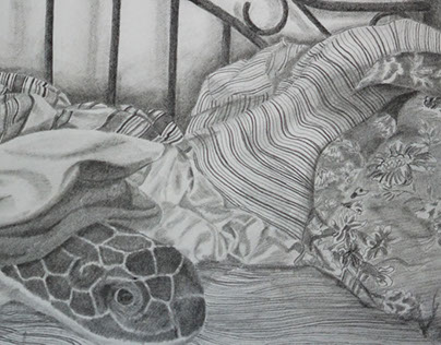 "Mess Bed, 9 x 12"" Pencil on Paper"