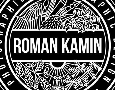 Roman Kamin logo stamp design