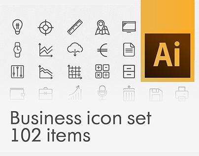 Business stroke icon set