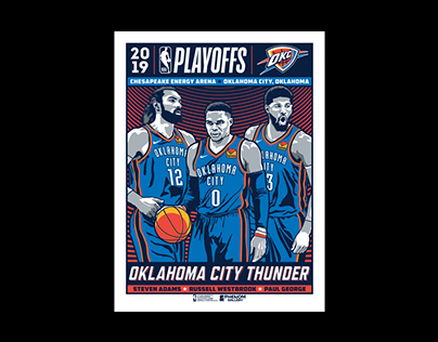 Oklahoma City Thunder 3-Player Playoffs Poster