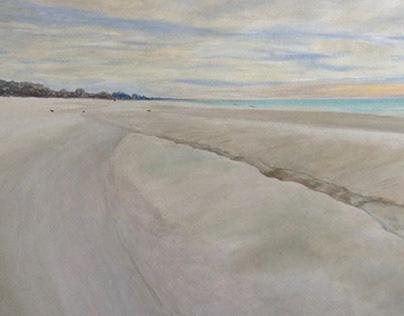 """'Dusk On Panama City Beach' Oil on canvas 24"""" x 48"""""""