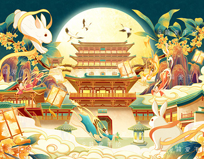Mid-Autumn Festival packing illustration玉兔宫殿中秋包装插画