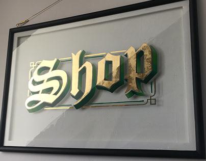 Shop - Gold leaf lettering