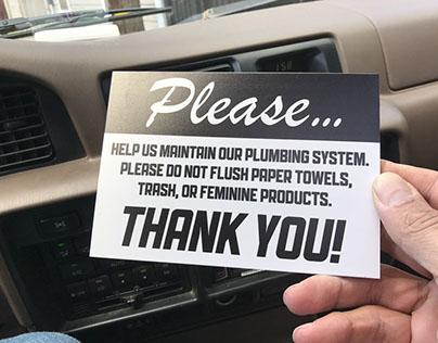 Delivering bathroom sign