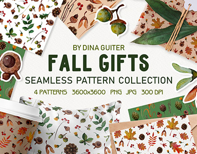 AUTUMN WATERCOLOR PATTERN COLLECTION. FALL GIFTS.
