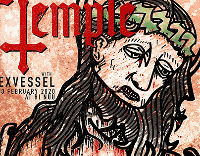 A Poster for Twin Temple and Hexvessel Live in Berlin