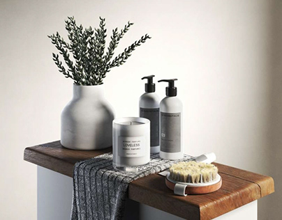 Bathroom accessories with donkey tail 3D model