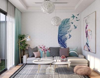Living room +Balcony Garden