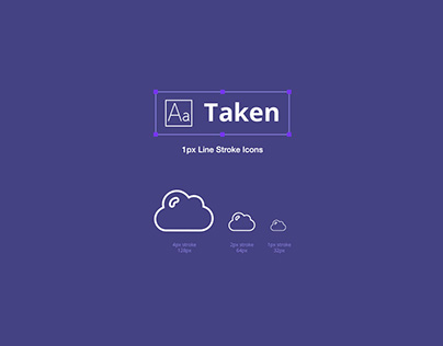 Taken - 1px line stroke icons (50 pieces)