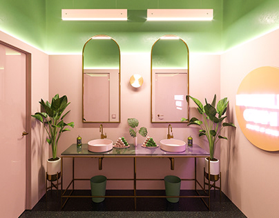 3D visualization of the toilet in the cafe