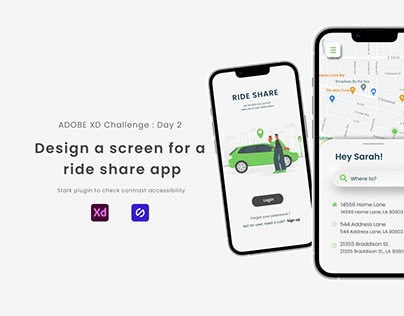 Adobe XD DCC - Design a screen for a ride share app