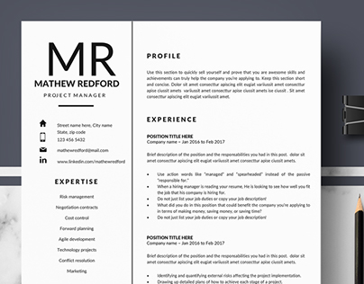 Professional & Minimalist Resume / CV for pages & Word