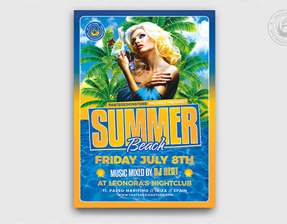 Beach Party Flyer Template V6