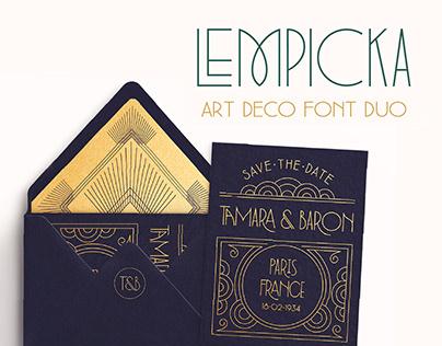 Lempicka: Art Deco Font Duo & Vector Ornaments
