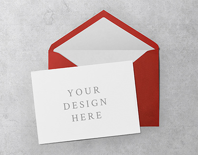 6 Greeting Card & Envelope PSD Mockups
