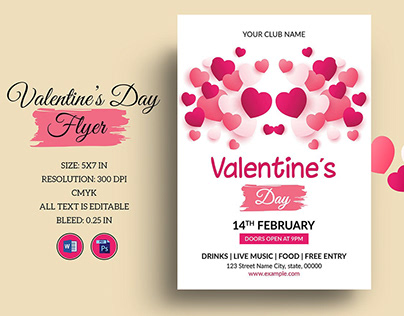 Printable Valentines Day Party Flyer Template