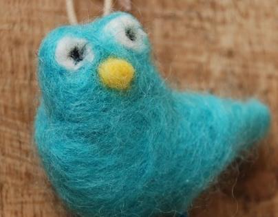Blue bird: handmade felt
