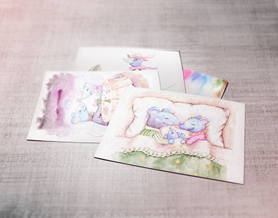Watercolor cards for the Year of the Mouse