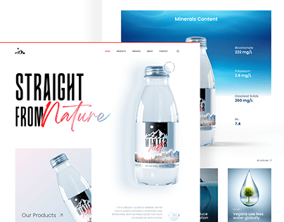 Mineral water website design concept