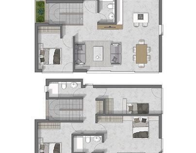 Floor plan 2D rendering in Llanes ASTURIAS