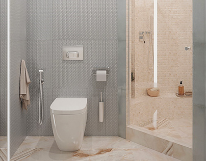 Visualization of a shower and a bathroom.