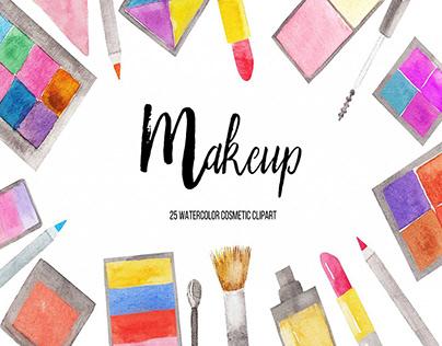 Watercolor Makeup Clipart