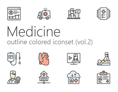Medicine outline colored iconset (vol.2)