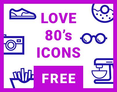 Icon set - Love 80's - free sample