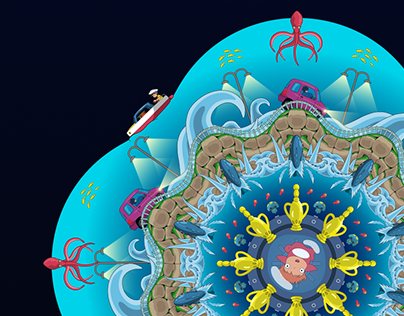Mandala Illustration - Ponyo on the Cliff