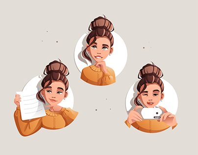 Vector stickers with emotions of people and characters