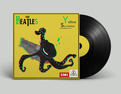 "Anaglyphe : Cover Vinyle ""Yellow Submarine, Beatles"""
