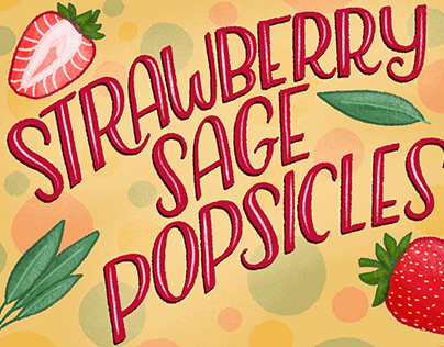 Strawberry Sage Popsicles Cute Recipe Illustration