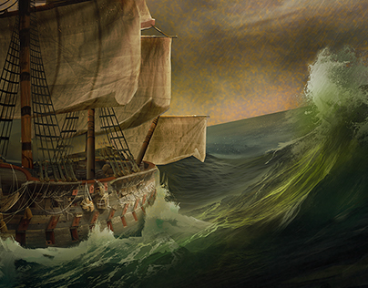 Boat in a sea storm