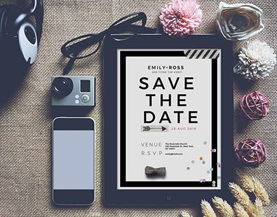 Minimal Save the date Wedding Invite