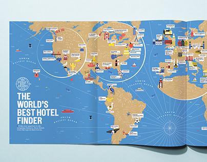 Traveler Leisure, World's best hotel finder map&illos