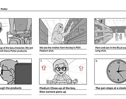 Storyboard for Harry Potter x BILLA TVC