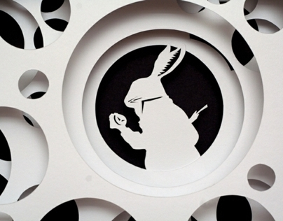 Paper Cut Work Inspired by Alice in Wonderland