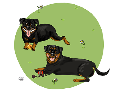 Pet portrait made in a cartoon style