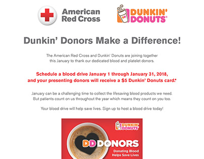 American Red Cross Sales Sheet - Dunkin' Donuts
