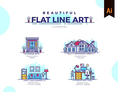 Beautiful Flat Line Art