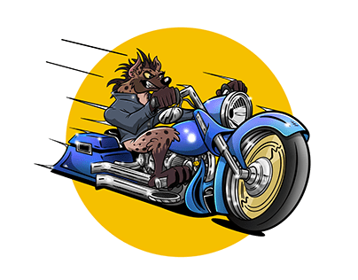 Hyena Cruising on a Chopper